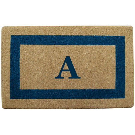 Inspired Accents Heavy Duty Coco Mat, Blue Single Picture Frame, Monogrammed