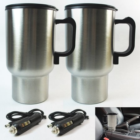 Stainless Steel Heated Coffee Cup - 2 Travel Heated Mug Auto Car Stainless Steel Portable Cup Coffee Tea Charger 12V