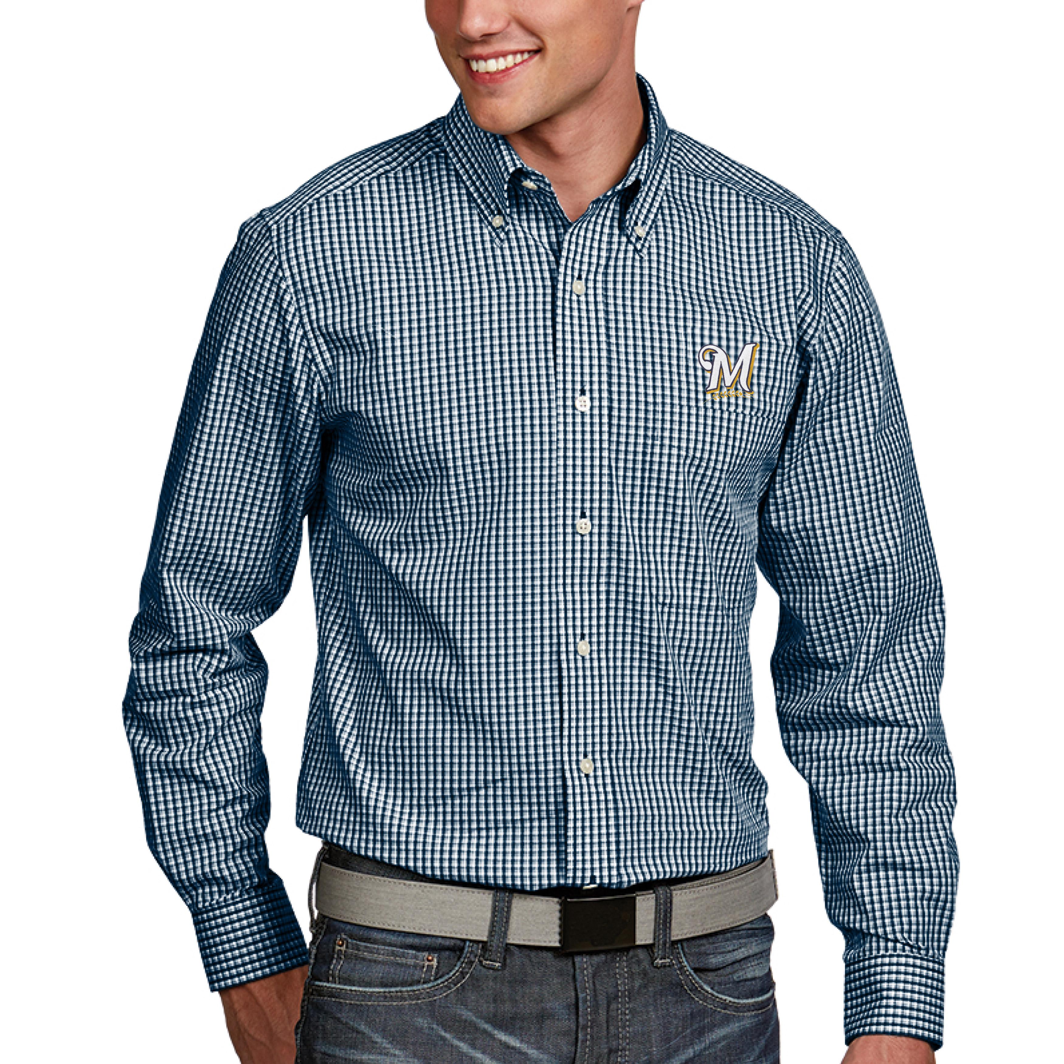 Milwaukee Brewers Antigua Associate Button-Down Dress Long Sleeve Shirt - Navy