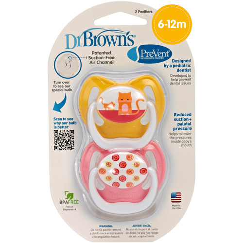 Dr. Brown's PreVent Orthodontic Pacifier, Stage 2, 6-18 Months, BPA-Free