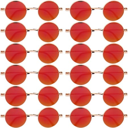 OWL ® Eyewear Wholesale Sunglasses 43mm Women's Metal Round Circle Gold Frame Mirror Red Lens (12 - Halloween Sunglasses Wholesale