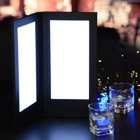 "Yescom 5-1/2""x11"" 2-Panel Folding LED Backlit Illuminated Menu Cover with Lighting Black Leatherette Holder/Check Presenter"
