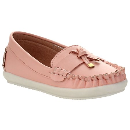 - VIA PINKY BECCY-62B Children Girl Comfort Slide On Moccasin Top Flat Loafers