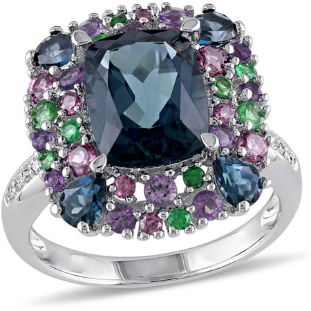 5-4/5 Carat T.G.W. London Blue Topaz, Rhodolite, Amethyst and Tsavorite with Diamond-Accent Sterling Silver Cocktail Ring Cut Amethyst Citrine Ring