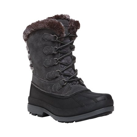 Propet Women's Lumi Tall Lace Snow Boots Grey Suede Rubber 9.5 M