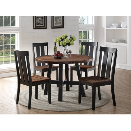 Distress Wood Brown Finish Round Dining Table 4 Side Chairs 5pc Set Modern Kitchen Room Furniture