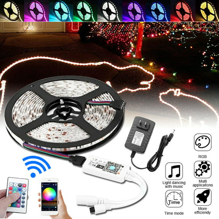 16.4ft LED Strip Light, Wifi Wireless Smart Phone Controlled 300 LED Strip Light Kit RGB 3825SMD Work with Android IOS Alexa Google Home Waterproof IP65 DC12V ()
