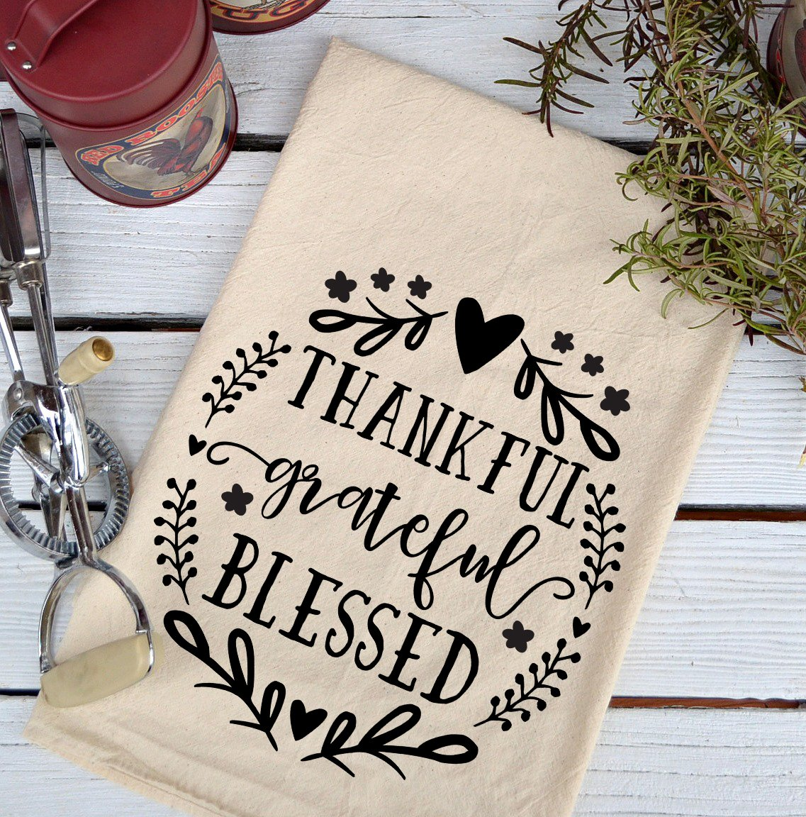 Farmhouse Natural Flour Sack Thankful Grateful Blessed Country Kitchen Towel