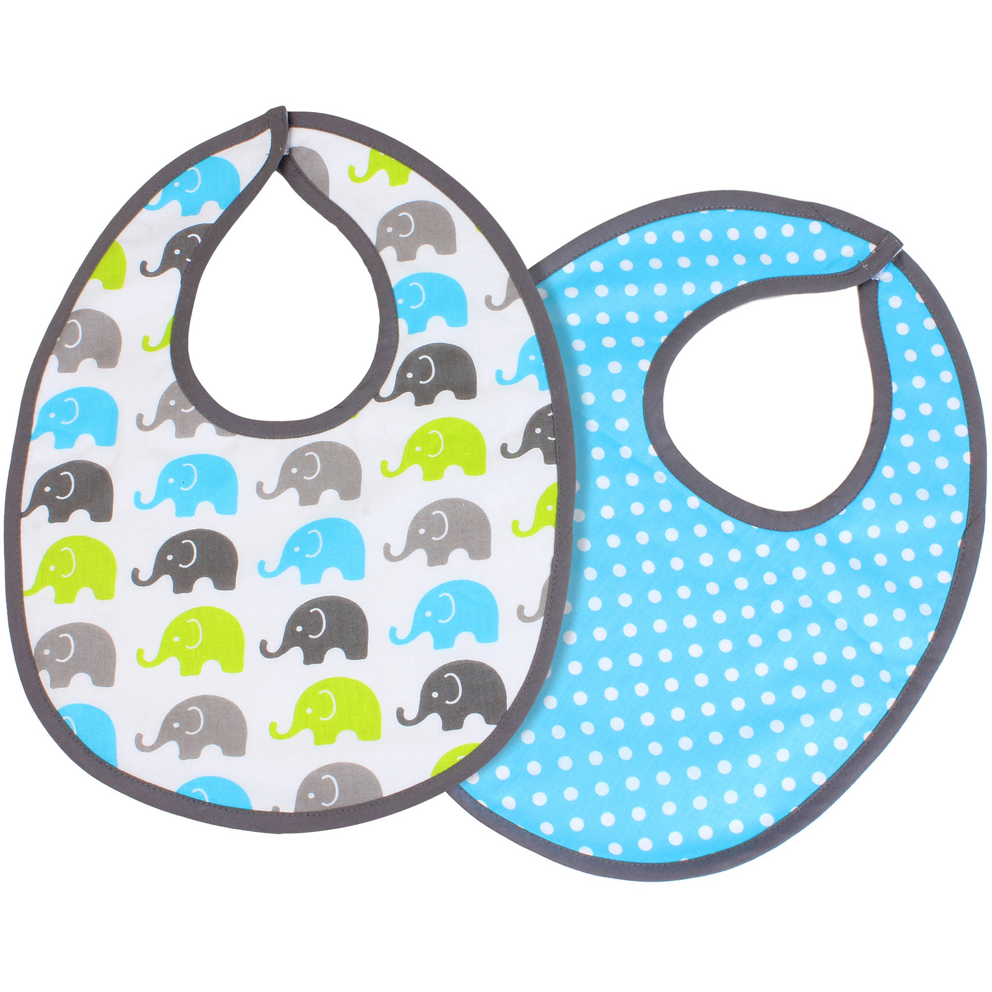 Bacati Bibs, Aqua/Lime/Grey, 2 count