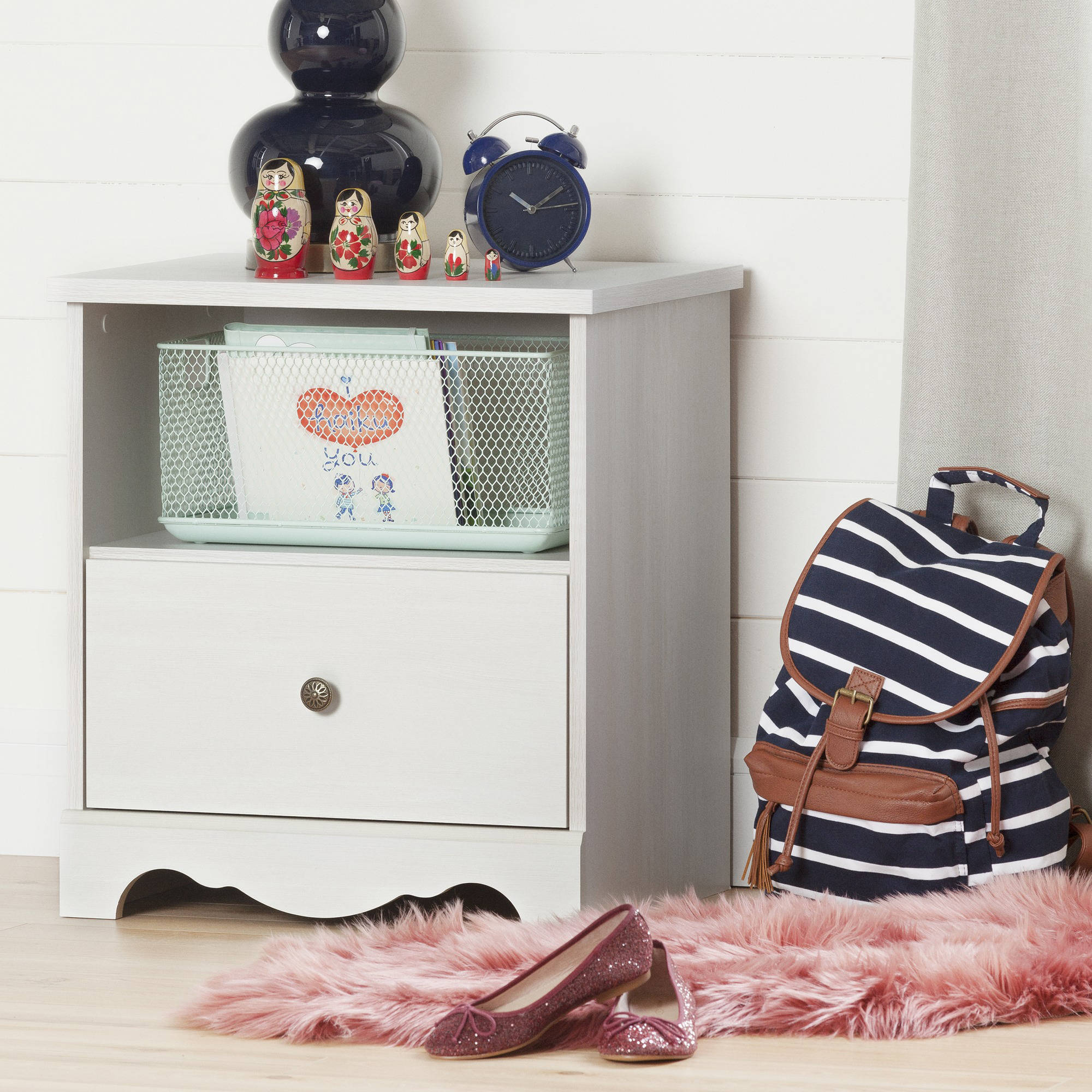 South Shore Caravell 1-Drawer Nightstand, White Wash by South Shore