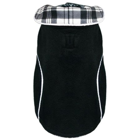 Hip Doggie HD-5PFWBK-L Large Reversible Polar Fleece Wrap Coat - Black
