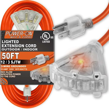ANKO 50 Feet 3 Outlet 12/3 SJTW Outdoor Extension Cord - UL Listed; 15Amp 125V 1875
