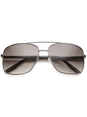8f475ca083c sunglassLA - Oversize Metal Frame Browbar Gradient Lens Aviator Sunglasses  - 62mm