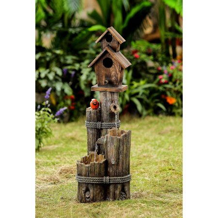 Tiered Wood Finish Water Fountain with Birdhouse ()