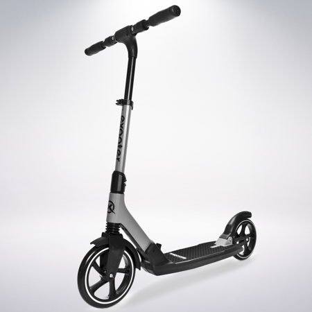 EXOOTER M7GR Manual Adult Kick Scooter With Dual Suspension Shocks And 240mm/200mm Big Wheels In Gray. ()