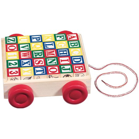 Melissa & Doug Classic ABC Wooden Block Cart Educational Toy With 30 Solid Wood Blocks (Word Blocks)