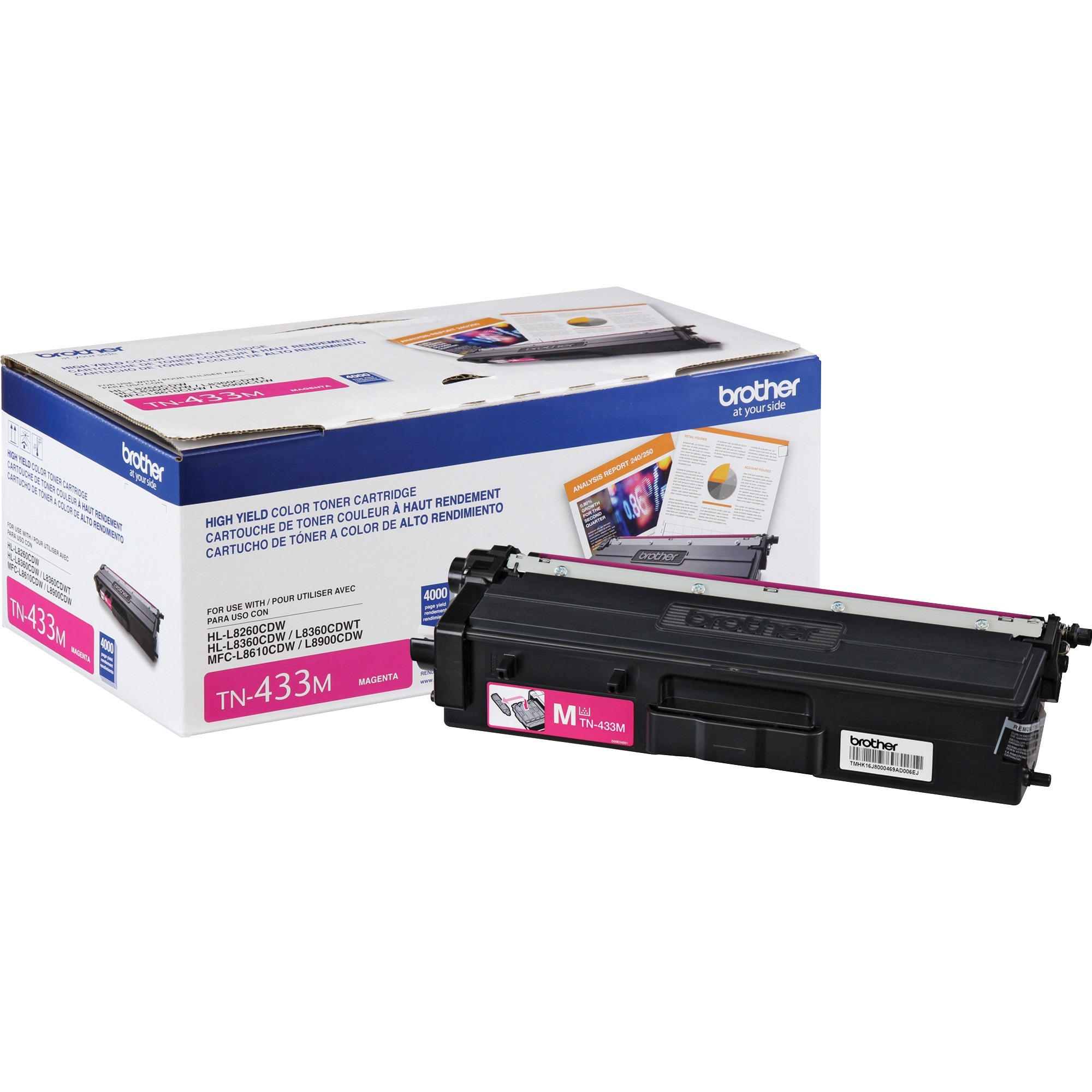 Brother, BRTTN433M, TN433M Toner Cartridge, 1 Each