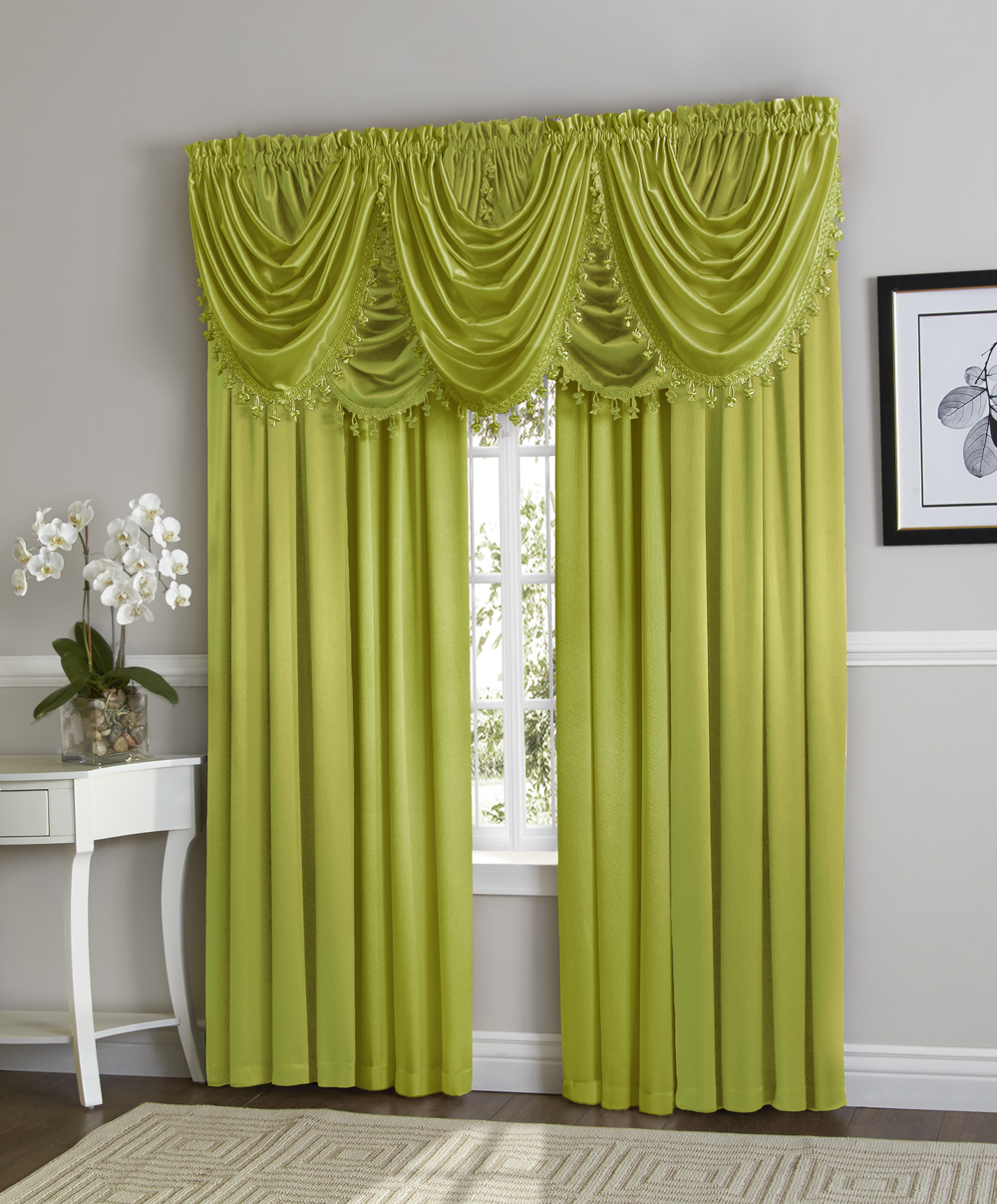 Hyatt Window Curtain & Fringed Valance Complete 9 Piece Window Treatment Set Lime by