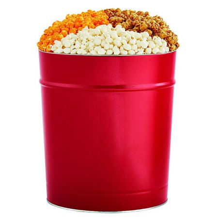 The Popcorn Factory Popcorn Gift Tin, Simply Red, 3.5 Gallons (Robust Cheddar, White Cheddar, Caramel) - Popcorn Factory Halloween Special