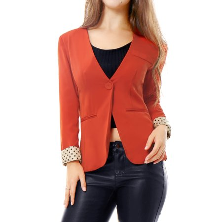 Women's Long Sleeves One Button Padded Shoulder Casual Cropped Blazer Jacket Orange (Size M / 10) Orange XS (US 2) (Cropped One Button)