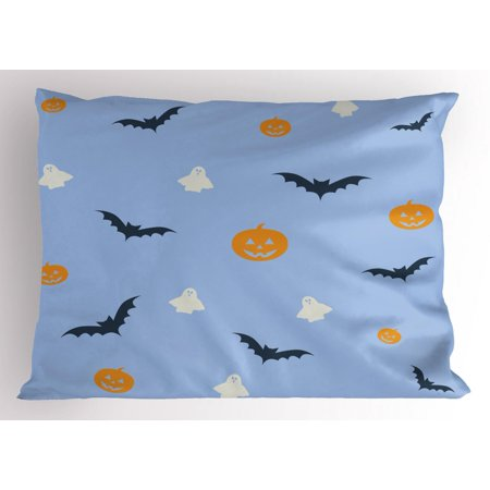 Halloween Al Room 26 (Ghost Pillow Sham, Happy Halloween Holiday Graphic Pumpkins Flying Bats and White Ghosts Scare Theme, Decorative Standard Size Printed Pillowcase, 26 X 20 Inches, Multicolor, by)