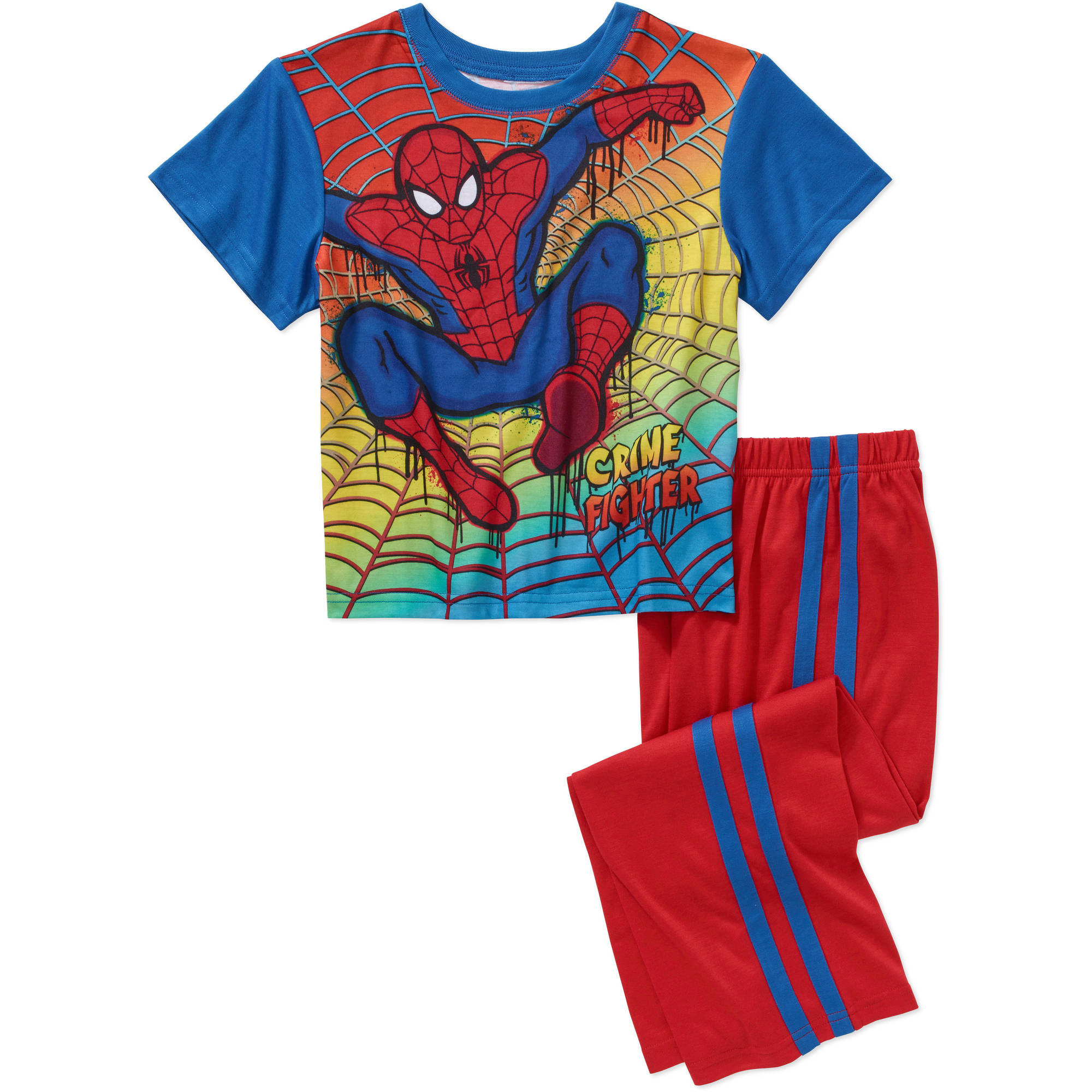 Marvel Spiderman Boys' License Short Sleeve Pajama Top and Sleep Pant Set