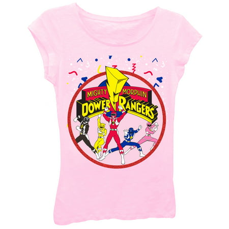 Girls' Power Rangers Team Action Pose Glitter Graphic T-Shirt (Girls Power Ranger)