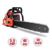 COOCHEER 62CC Chainsaw 20Inch 3.5HP Gas Chainsaw 2 Strokes Gas Powered Petrol Chainsaw Gasoline Powered Handheld Chain Saw Tool Set