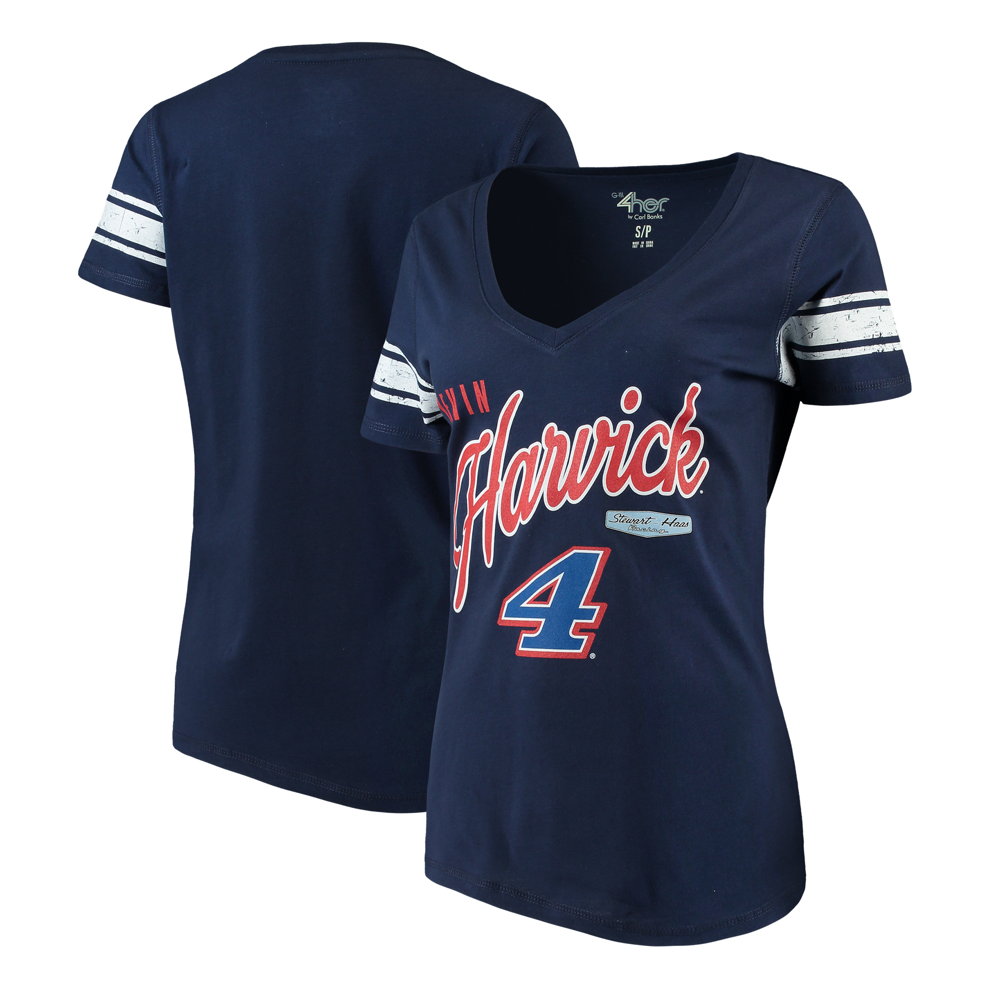 Kevin Harvick G-III 4Her by Carl Banks Women's First Pick V-Neck T-Shirt - Navy