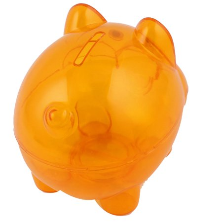 Clear Orange Plastic Piggy Bank Coin Money Cash Saver Collectible Savings Pig Toy Box for Home Gift (Plastic Piggy Bank)