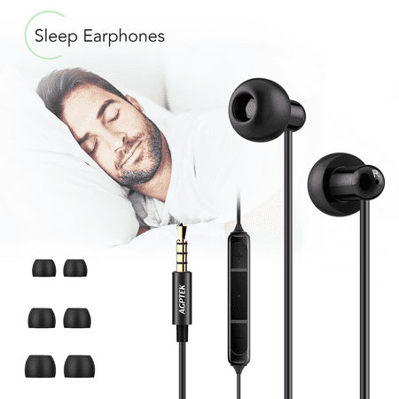 AGPTEK Sleep Earbuds, Ultra-soft Silicone Noise Isolating Headphones Super Comfortable Earplugs with Mic for