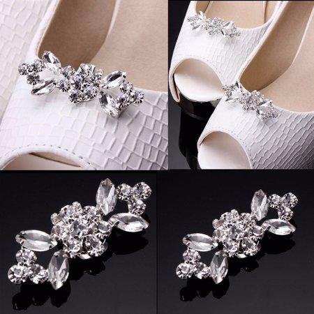 2pcs Crystal Crystal High Heel Shoe Charming Clips Rhinestone Wedding Diamante ()