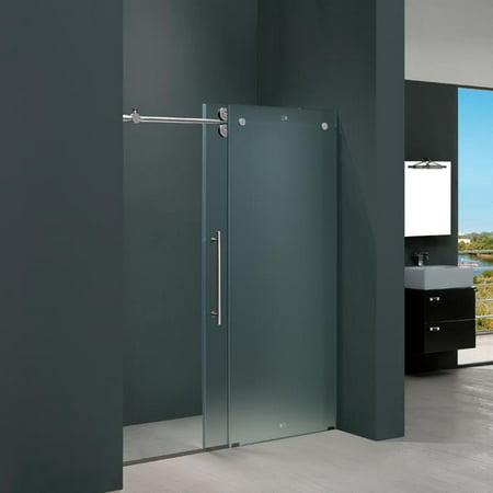 Vigo Vg6041chmt6074l Vigo 60 Inch Frameless Shower Door  37  Frosted Glass Chrome Hardware Left