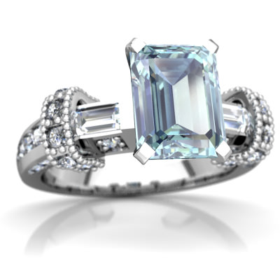 Aquamarine Antique Style Ring in 14K White Gold by