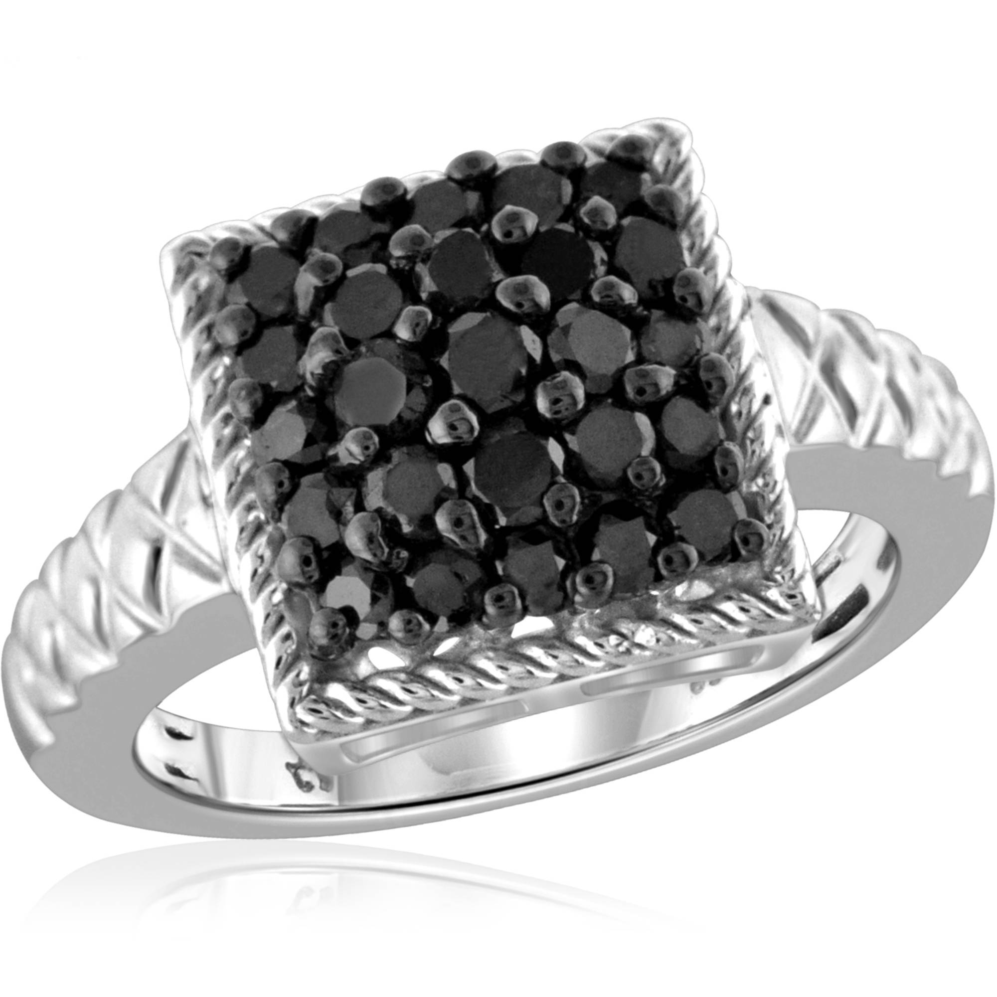 JewelersClub 1 Carat T.W. Black Diamond Ring in Sterling Silver