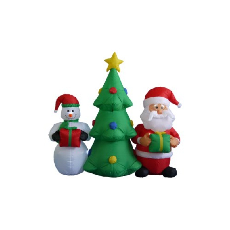 BZB Goods 5 Foot Tall Lighted Inflatable Christmas tree with Santa Claus and Snowman Yard Decoration