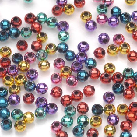Assorted Metallic Round Beads: Plastic, 4mm