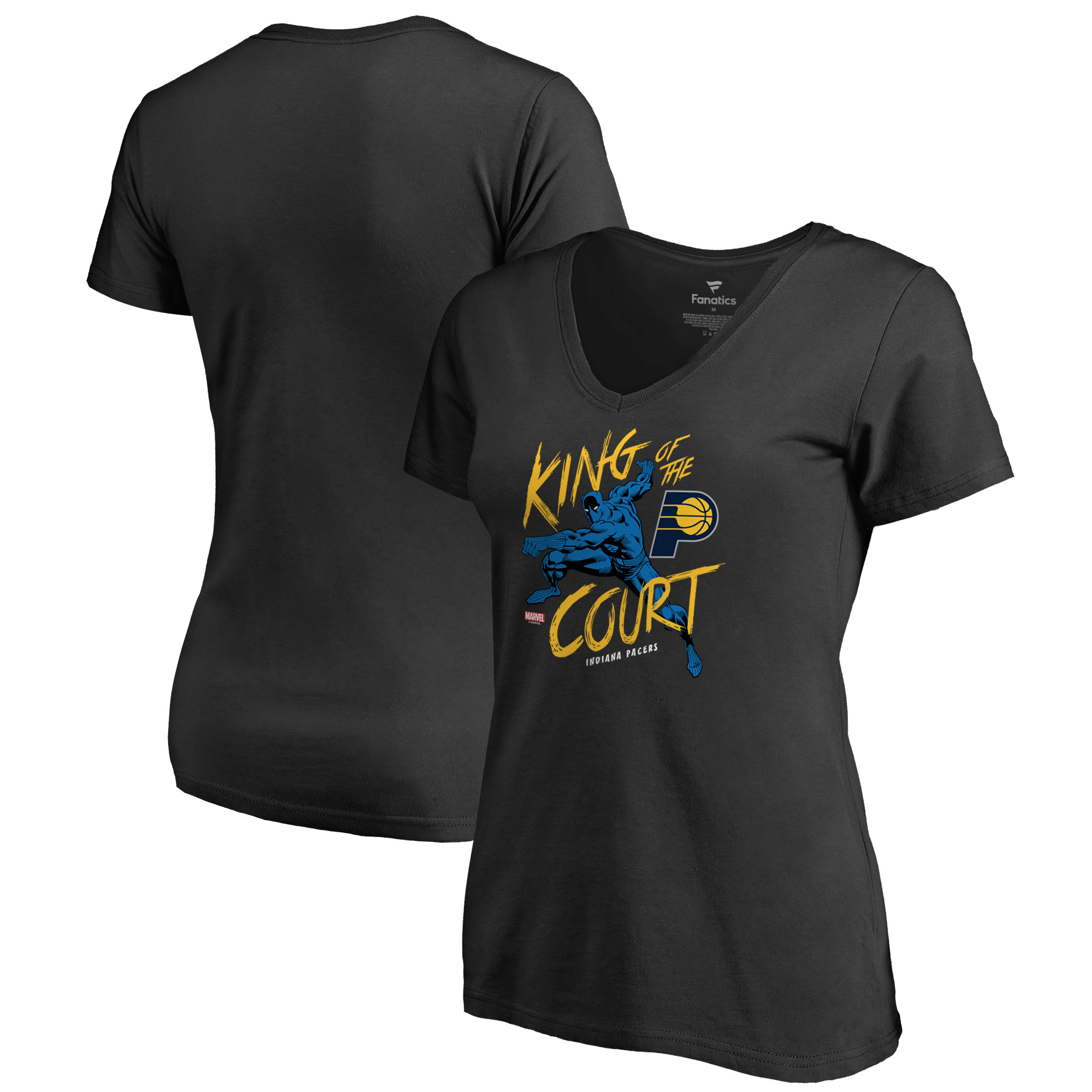Indiana Pacers Fanatics Branded Women's Marvel Black Panther King of the Court V-Neck T-Shirt - Black