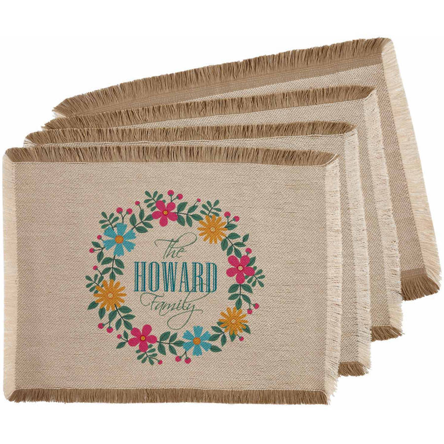 Personalized Floral Family Placemat, Set of 4, Available in 2 Patterns