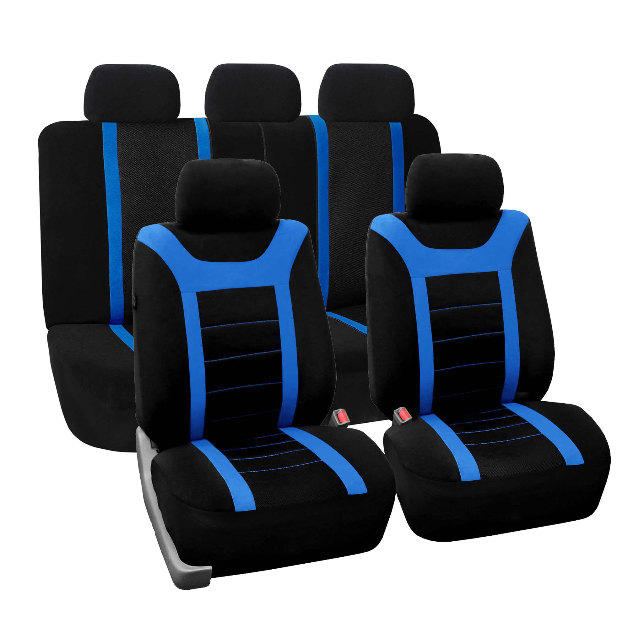 FH Group Blue and Black Airbag Compatible and Split Bench Sports Car Seat Cover, Full Set