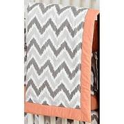 Bacati - Zigzag Ikat Crib 100% Cotton Percale Shell Comforter, Grey/Coral