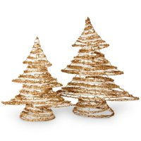Assortment Rattan & Cotton Tree with Champagne Gold Glitter, Set of 2