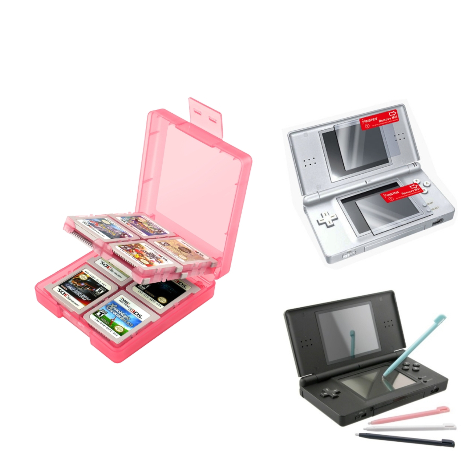Insten Coral 16in1 Card Case+4 Color Stylus+2-LCD Screen Protector For Nintendo DS Lite