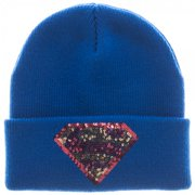 Beanie Cap - Supergirl - Sequin Cuff Hat New Licensed kc30e3sgl