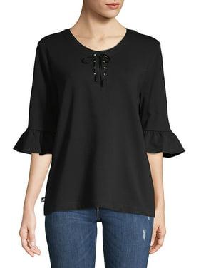 Ruffled-Sleeve Lace-Up Sweatshirt