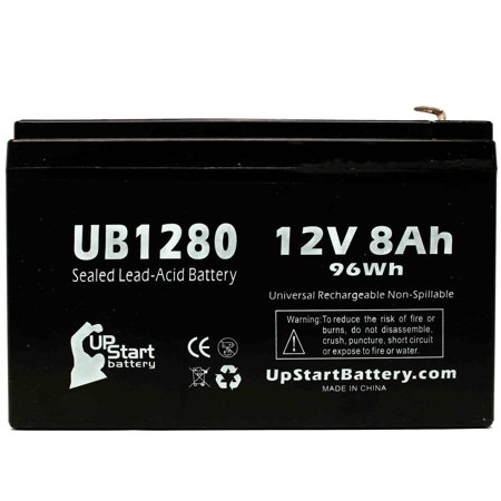 Compatible Briggs & Stratton 497395 Battery - Compatible UB1280 Universal Sealed Lead Acid Battery (12V, 8Ah, 8000mAh, F1 Terminal, AGM, SLA) - Includes TWO F1 to F2 Terminal Adapters - image 1 de 4