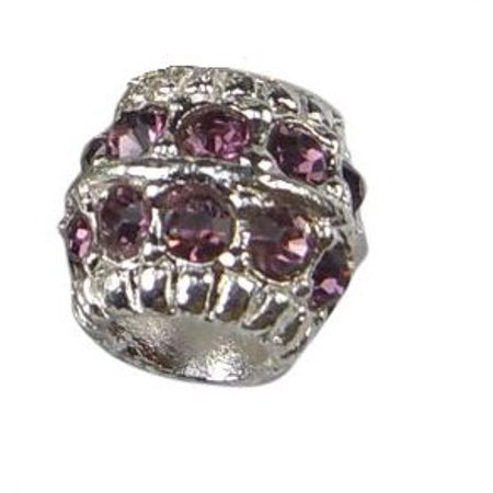 Purple Rhinestone Crystal Barrel Shape Charm - Bead Shapes