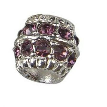 Purple Rhinestone Crystal Barrel Shape Charm Bead. (Purple Rhinestone Charm)