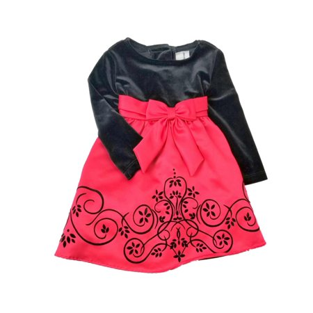 Infant Baby Girls Red Satin Black Velvet Christmas Holiday Party Dress 18M