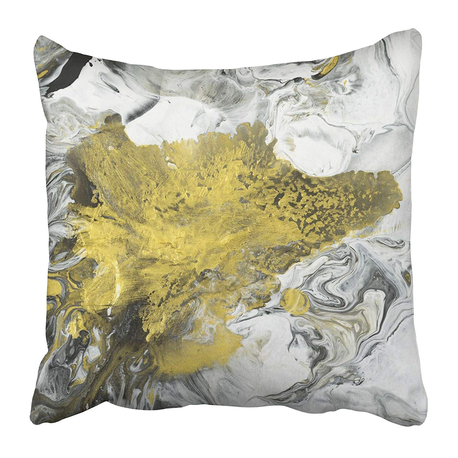 USART Abstract Hand Black and White with Gold Close Up Fragment of Acrylic Painting Pillow Case Cushion Cover 16x16 inch